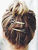 Leiothrix Hot Alloy Golden Scissor Hair Clips for Women and...