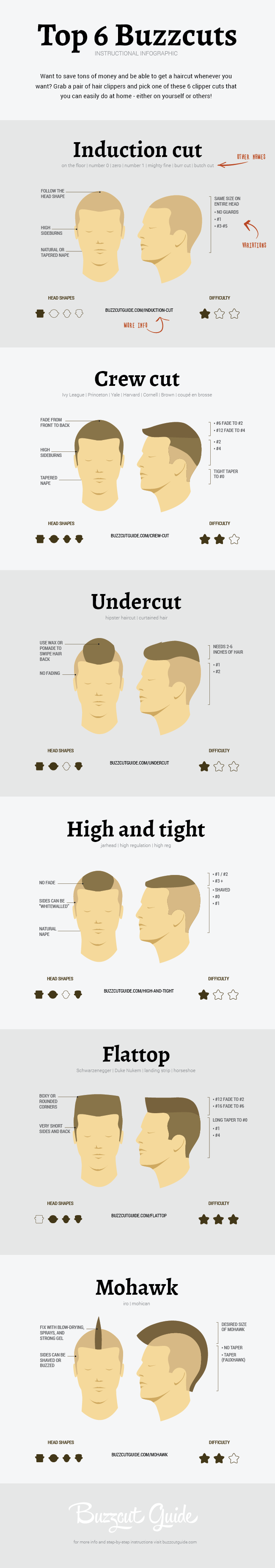 Infographic about clippercuts or buzzcuts
