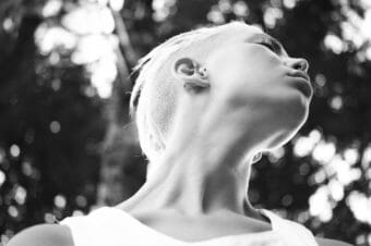 b&w picture of someone with bleached short hair